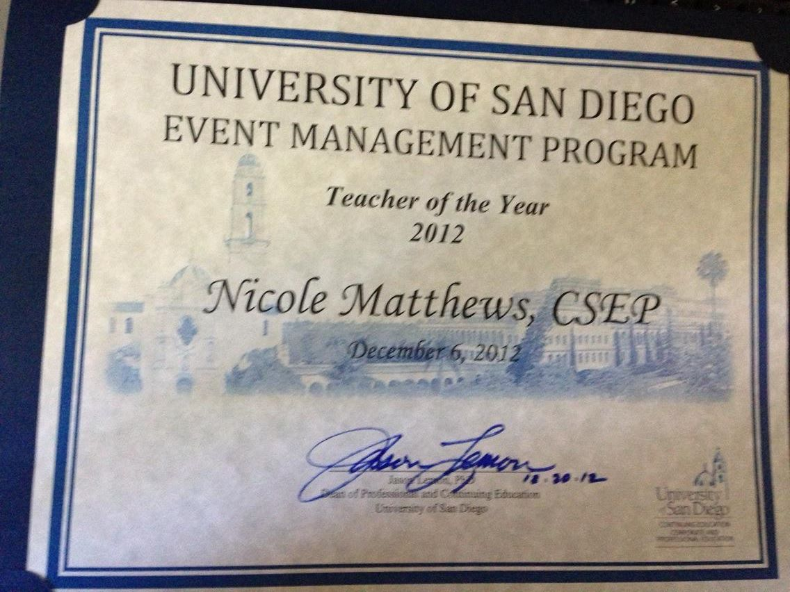 Event management certificate program the henley company i have the great fortune of teaching at the university of san diegos event management certificate xflitez Images